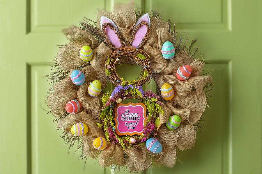 bunny burlap wreath