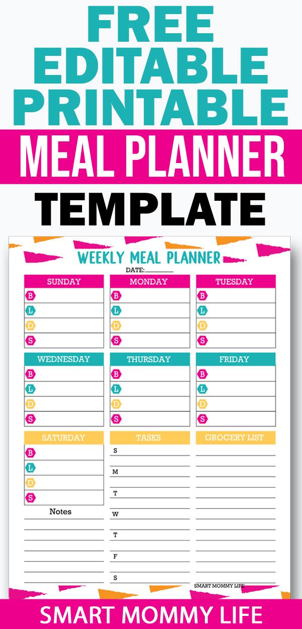 free editable printable meal planning template